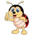 Cute ladybug cartoon thumb up vector image