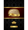 background with golden luxury label and crown vector image vector image