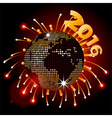 Disco ball world map 2016 and fireworks vector image