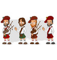 cartoon scottish with bagpipe characters set vector image