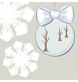 Christmas bauble with bow and snowflakes vector image