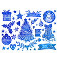 Christmas watercolor set vector image