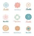 collection of hand drawn mandalas symbols vector image