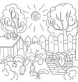 coloring book carrots in the garden vector image