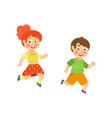 kids children boy and girl playing tag running vector image
