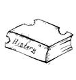Sketch book worm bitten vector image