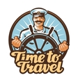 travel logo journey or sailor ship vector image