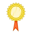 Gold awarrd with ribbon icon cartoon style vector image