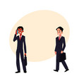 black and caucasian businessmen in business suits vector image