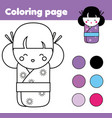 coloring page with cute japanese kokeshi doll vector image