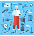 Set cook kitchen elements coffee maker knife vector image