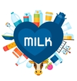 Milk background with dairy products and objects vector image