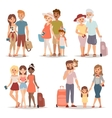 Traveling family group people on vacation together vector image