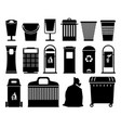 garbage cans black silhouettes vector image