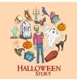 Halloween story emblem with sketch symbols vector image