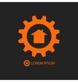 Orange construction company logo vector image