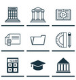set of 9 school icons includes document case vector image
