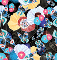 colorful abstract pattern and butterflies vector image