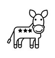 donkey usa democratic party line icon vector image