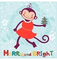 Merry and bright Cute card with cute funny monkey vector image