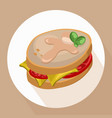 sandwich tomatoes with green salad healthy vector image