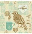 Vintage Birds Coffee Pattern vector image