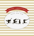 Vintage card with cute elves Merry Christmas vector image