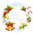 Xmas decorative congratulation card with symbols vector image