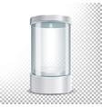 round empty glass showcase podium with spotlight vector image