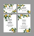 set of wedding cards invitation with lemon vector image