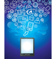 Tablet pc with bright social media icons - vector image