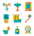 Flat icons of bathroom vector image