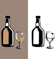 glass and bottle cognac vector image