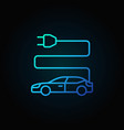 electric car blue icon in thin line style on dark vector image