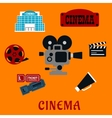 Movie production and cinema flat icons vector image