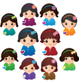 Various Girl Characters vector image