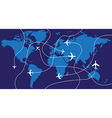 World map airplane flights vector image