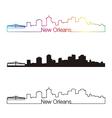 New Orleans skyline linear style with rainbow vector image