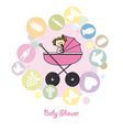 Baby girl baptism invitation card vector image