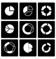 black pie chart icon set vector image