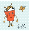 Hello card with funny character Chinese food box vector image vector image