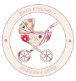 Baby friendly vintage sticker vector image