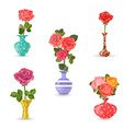 collection of flowers vases with roses for your vector image vector image