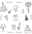 Doodle art birthday with hand draw vector image