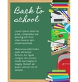 Background with school supplies on chalkboard vector image