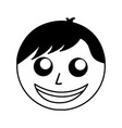 black icon man face cartoon vector image