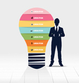 Businessman showing light bulb with Infographic vector image