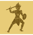 Gladiator in carved style vector image