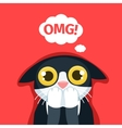 The frightened cat thinks Oh my God vector image