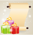 Gift boxes and scrolled paper vector image